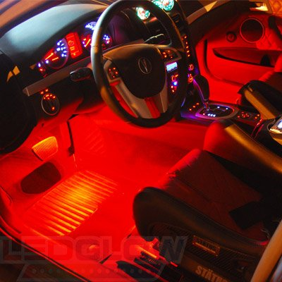 Ledglow 4pc red led car interior underdash lighting kit universal fitment music mode auto for Led lighting for cars interior