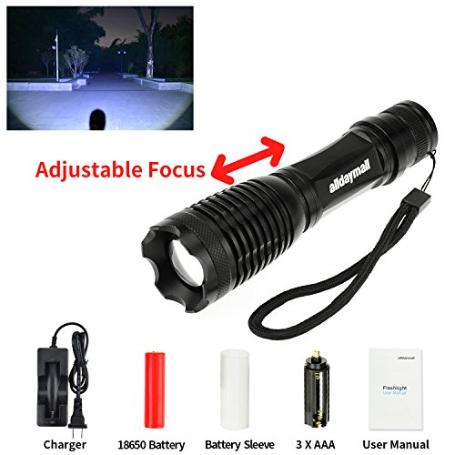 Alldaymall-600-Lumens-Zoomable-CREE-XM-L-T6-LED-Lamp-Flashlight5-Modes-Adjustable-Focus-Lighting-Lamp-Flashlight-Torch-118650-rechargeable-protected-Battery-118650-Wired-Single-Charger-Kit-0