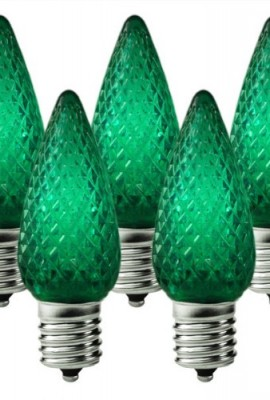 Holiday-Lighting-Outlet-LED-C9-Green-Replacement-Christmas-Light-Bulbs-Commercial-Grade-5-Diode-Leds-in-Each-Bulb-Fits-in-E17-Sockets-Pack-of-25-Bulbs-0