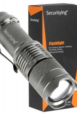 Securitying-Silver-Color-35W-300-Lumens-Mini-Cree-XP-E-Q5-LED-Flashlight-with-Adjustable-Focus-Lamp-Super-Birght-Waterproof-Zoomable-Cree-LED-Flashlight-Lamp-Torch-for-Easily-Carring-No-Battery-0