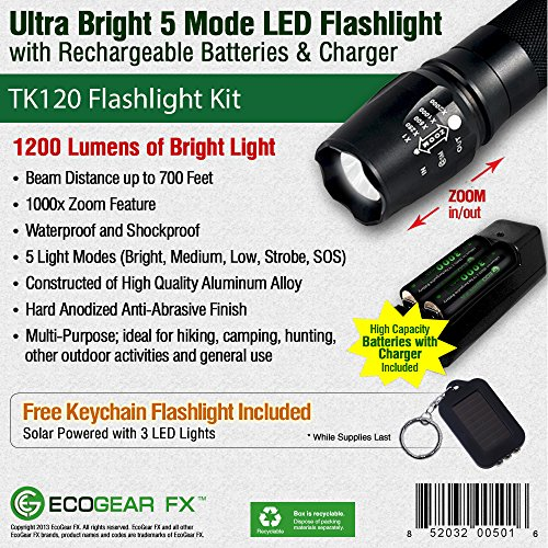 EcoGear-FX-Tactical-LED-Flashlight-Kit-TK120-Bright-LED-Flashlight-with-1200-Lumens-Zoom-Function-and-5-Light-Modes-Includes-Rechargeable-Batteries-Battery-Charger-and-a-Durable-Storage-Box-0-1