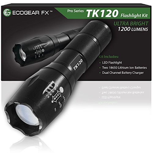 EcoGear-FX-Tactical-LED-Flashlight-Kit-TK120-Bright-LED-Flashlight-with-1200-Lumens-Zoom-Function-and-5-Light-Modes-Includes-Rechargeable-Batteries-Battery-Charger-and-a-Durable-Storage-Box-0