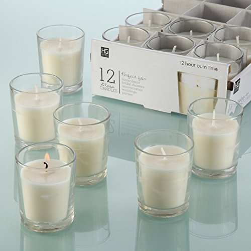 Hosleys-Set-of-12-Unscented-Glass-Votive-Candles-0