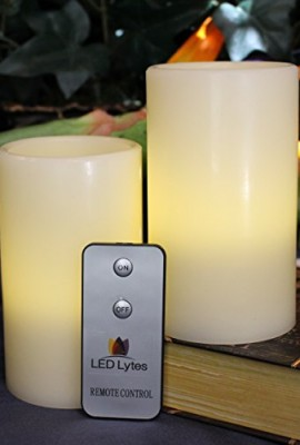 LED-Lytes-Real-Wax-Battery-Operated-Flameless-Pillar-Candles-with-Remote-Set-of-2-3-X-5-0