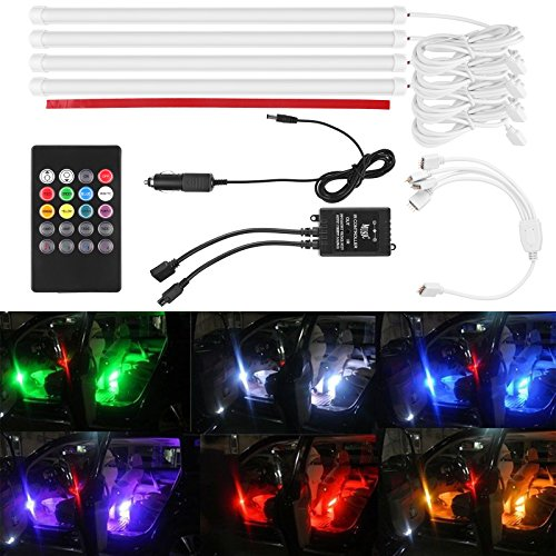 lemonbest 4pcs 12 inch multi color 7 color led car interior underdash lighting kit sound. Black Bedroom Furniture Sets. Home Design Ideas