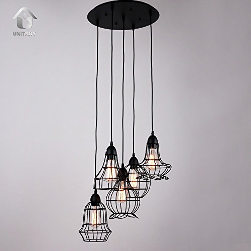 Unitary-Brand-Rustic-Barn-Metal-Chandelier-Max-200w-with-5-Lights-Black-Finish-0-1