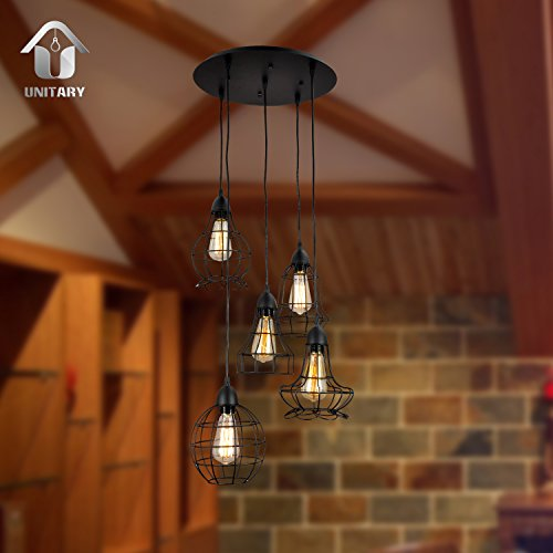 Unitary-Brand-Rustic-Barn-Metal-Chandelier-Max-200w-with-5-Lights-Black-Finish-0-2