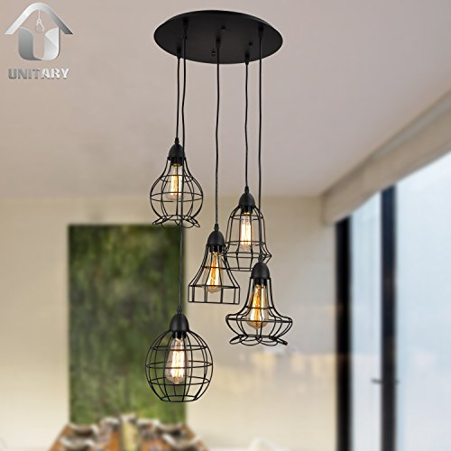 Unitary-Brand-Rustic-Barn-Metal-Chandelier-Max-200w-with-5-Lights-Black-Finish-0-3