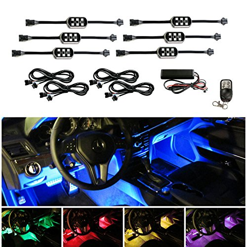 ijdmtoy 6 pods 7 color rgb led underbody interior car accent lighting kit include wireless. Black Bedroom Furniture Sets. Home Design Ideas